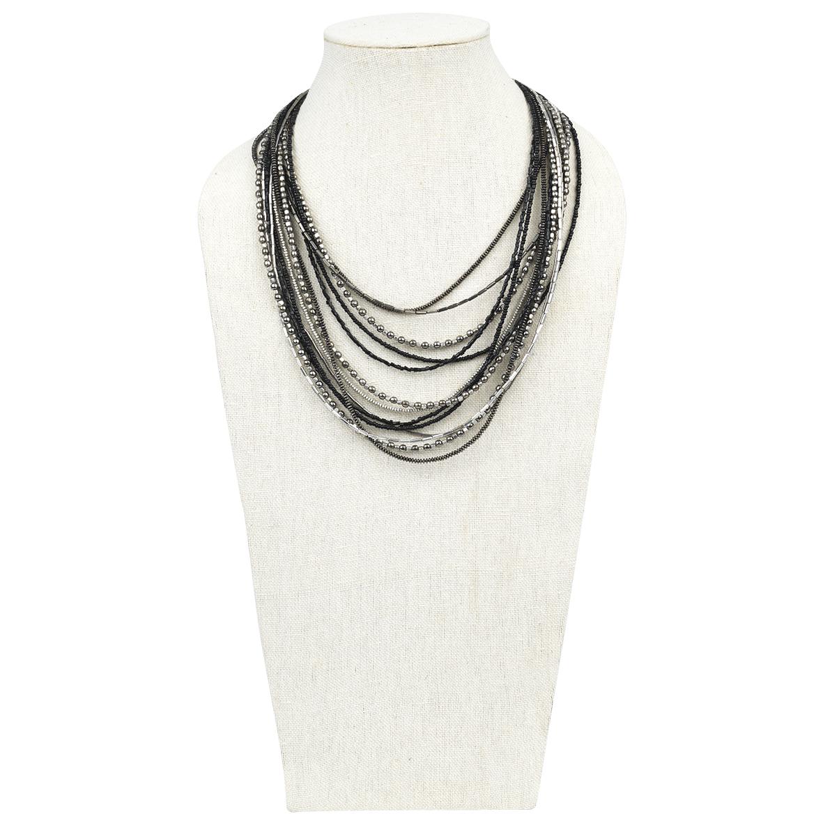 Halskette Bobbie Silber/Schwarz