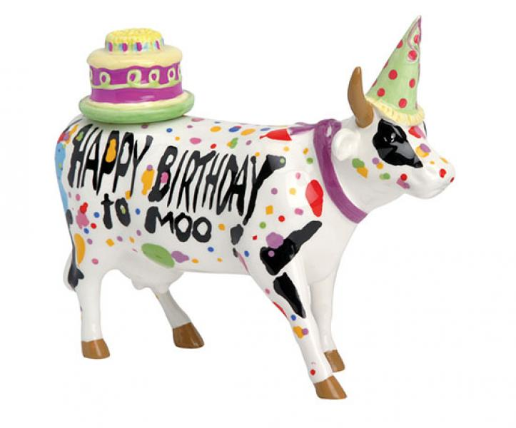 Cowparade Happy Birthday To Moo! Medium Ceramic