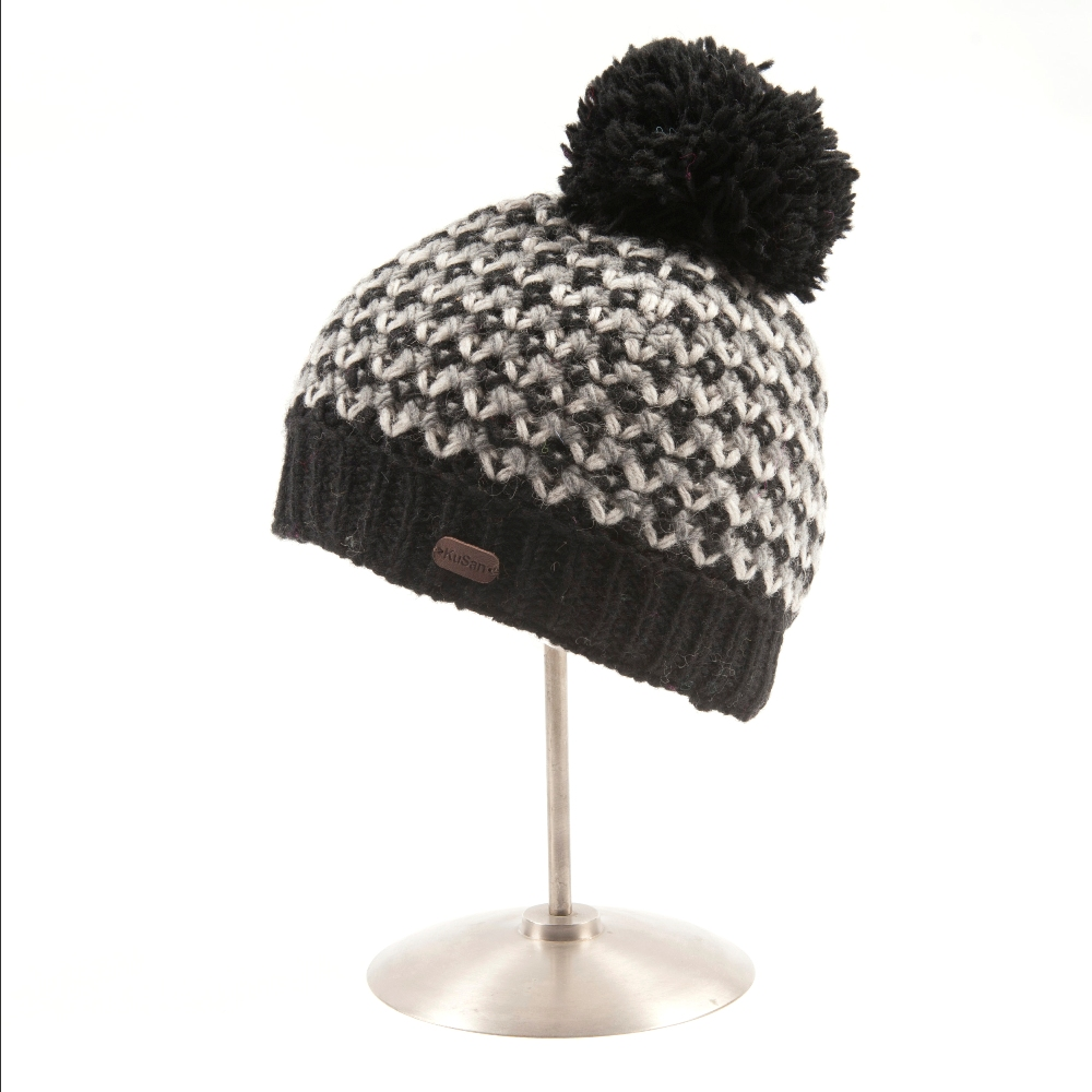 Bobble Hat Grey Pyramid Knit