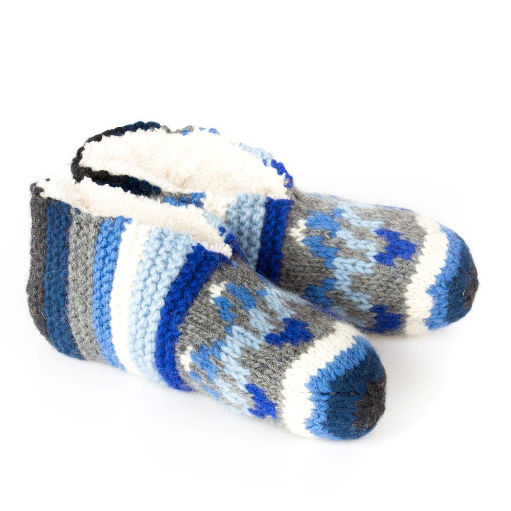 Hausschuhe Blau mit Sherpafutter Größe S/M