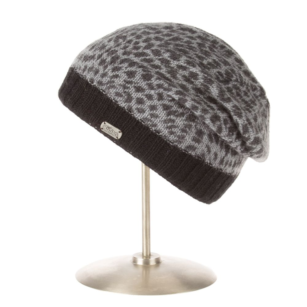 Floppy Beret Animal Print Charcoal