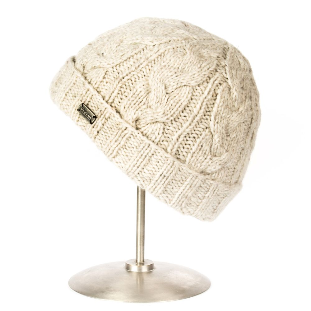 Cable Knit Turn Up Hat Oatmeal